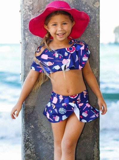 Girls Retro Print Off the Shoulder Ruffled Top & Skirted Bottom Two Piece Swimsuit - Girls Two Piece Swimsuit