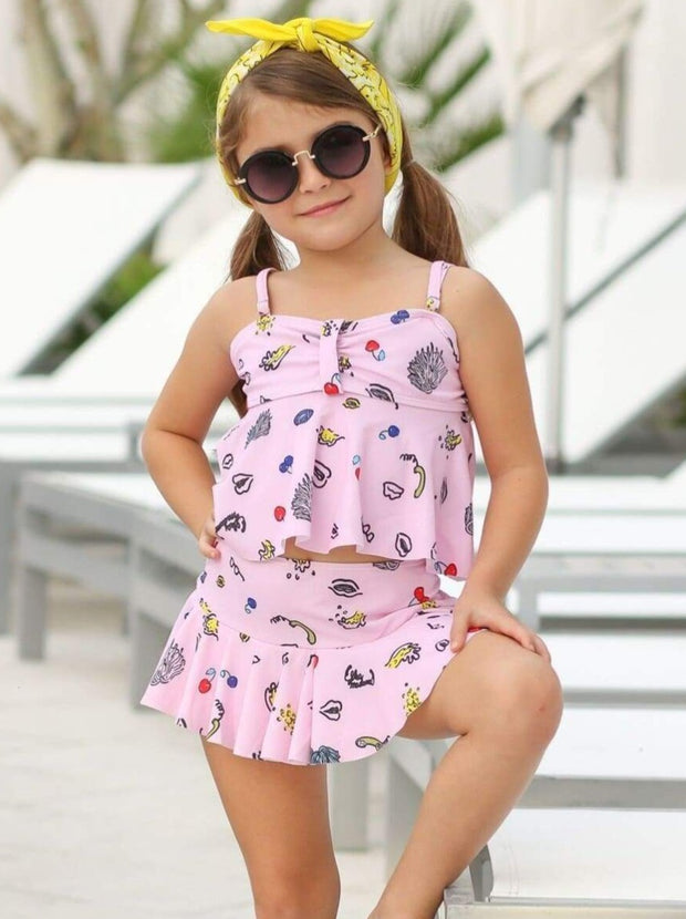 Girls Retro Print Tankini Skirted Two Piece Swimsuit - Girls Two Piece Swimsuit