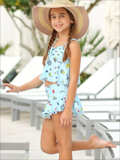 Girls Retro Print Tankini Skirted Two Piece Swimsuit - Blue / 5Y - Girls Two Piece Swimsuit