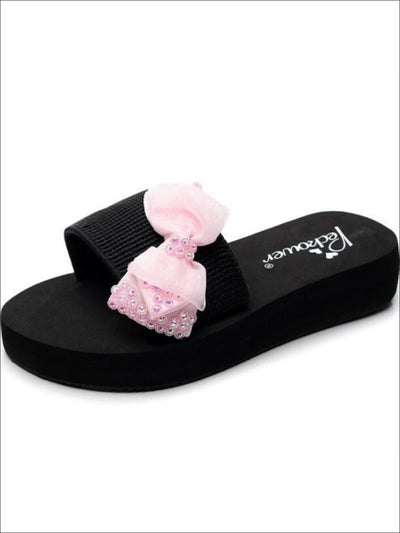 Girls Rhinestone Bow Embellished Flips Flops - Pink / 1 - Girls Slides