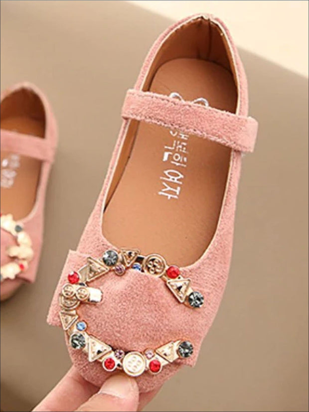 Girls Rhinestone Buckle Embellished Flats By Liv and Mia - Girls Flats