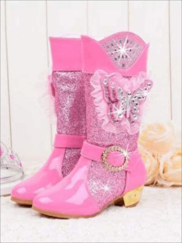 Girls Rhinestone Butterfly Mid Boots (Blue Pink Purple) - Pink / 1 - Girls Boots