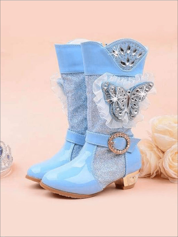 Girls Rhinestone Butterfly Mid Boots (Blue Pink Purple) - Blue / 1 - Girls Boots