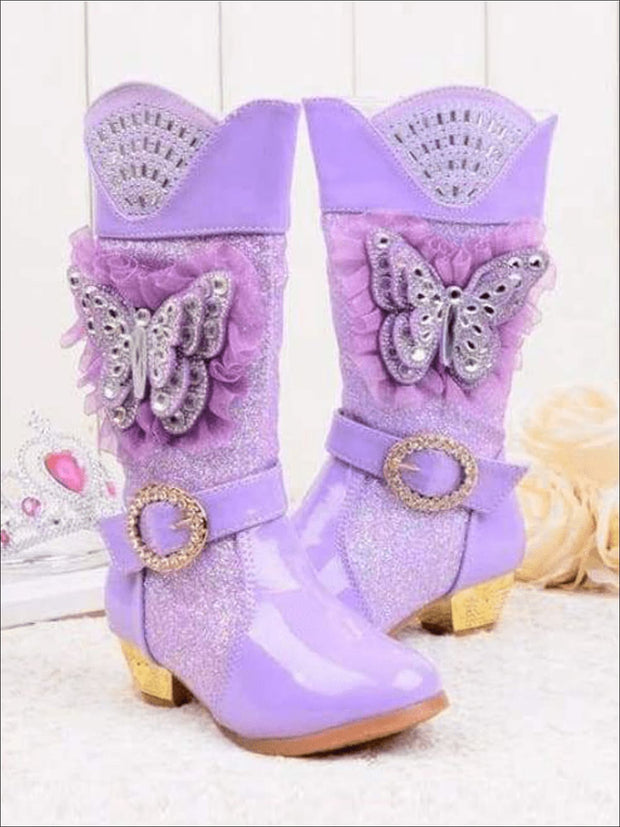Girls Rhinestone Butterfly Mid Boots (Blue Pink Purple) - Girls Boots