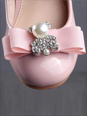 Girls Rhinestone Embellished Bow Tie Princess Shoes with Ankle Strap (Pink & Black) - Girls Flats