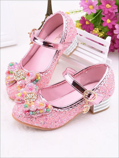 Girls Rhinestone Embellished Flats With Bow (4 Color Options) - Pink / 1 - Girls Flats