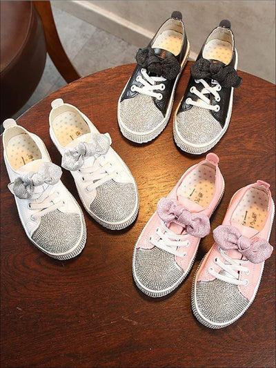 Girls Rhinestone Embellished Glitter Bow Sneakers - Black / 1 - Girls Sneakers