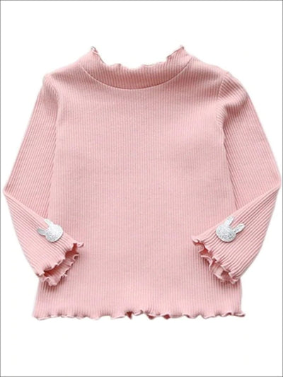 Girls Ribbed Knit Sweater With Glitter Bunny Applique - Pink / 5Y - Girls Sweater