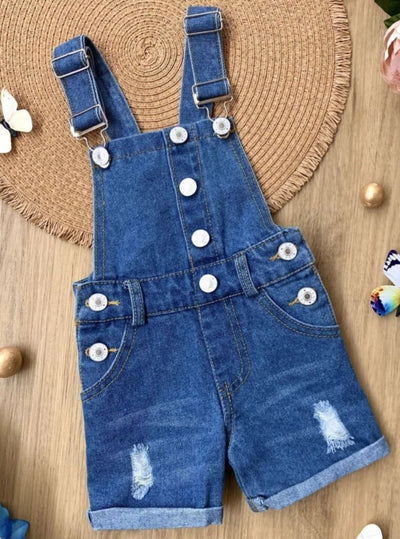 Girls Ripped Cuffed Denim Overall - Denim / 2T - Girls Jumpsuit