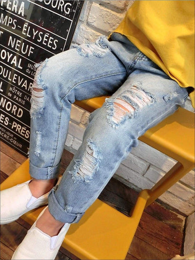 Girls Ripped Hole Broken Denim Jeans - 3T / Blue - Girls Jeans