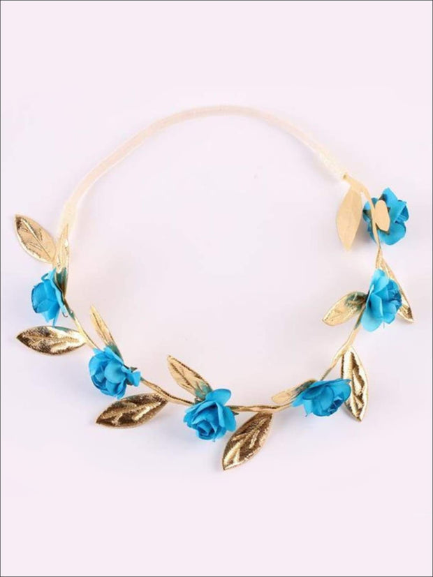 Girls Rose and Gold Leaf Flower Halo - Blue / One - Hair Accessories