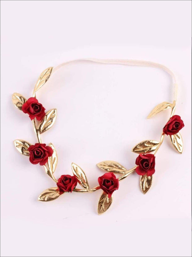 Girls Rose and Gold Leaf Flower Halo - Hair Accessories