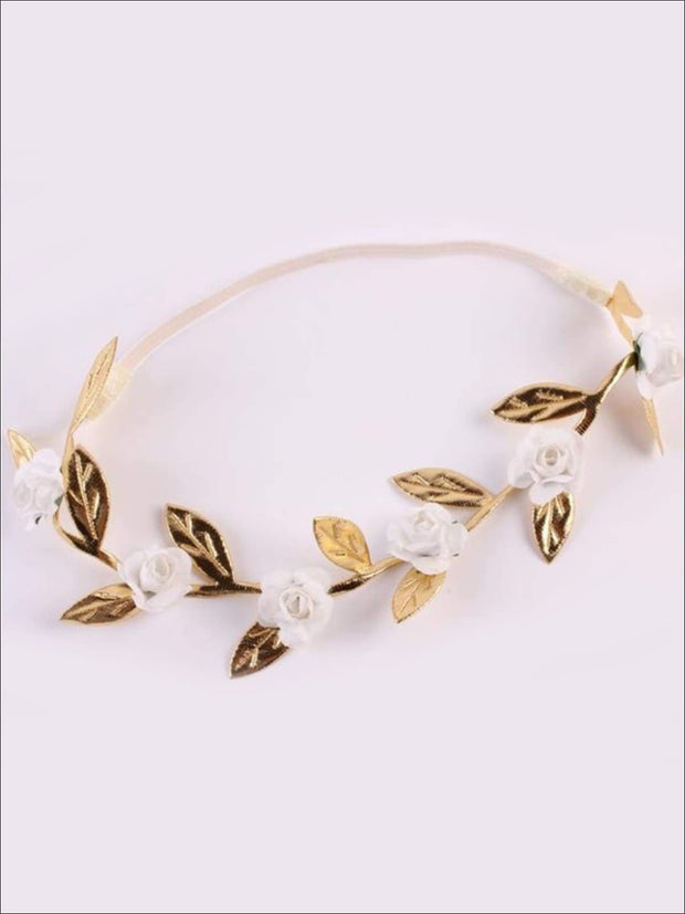 Girls Rose and Gold Leaf Flower Halo - White / One - Hair Accessories