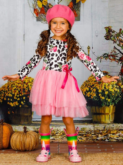 Girls Rose Animal Print Long Sleeve Tutu Skirt Dress with Bow - Girls Fall Casual Dress