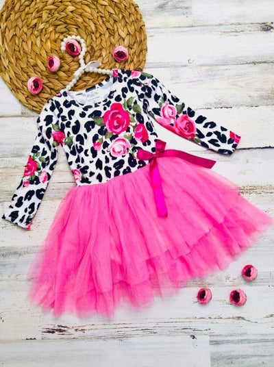 Girls Rose Animal Print Long Sleeve Tutu Skirt Dress with Bow - Pink / 2T - Girls Fall Casual Dress
