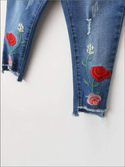 Girls Rose Embroidered Distressed Raw Hem Jeans - Girls Jeans
