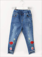 Girls Rose Embroidered Distressed Raw Hem Jeans - 3T - Girls Jeans