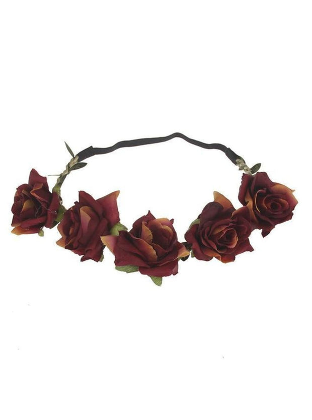 Girls Rose Flower Halo - Burgundy / One - Girls Flower Halo