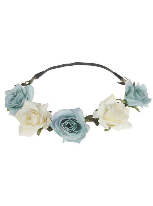 Girls Rose Flower Halo - Creme & Blue / One - Girls Flower Halo