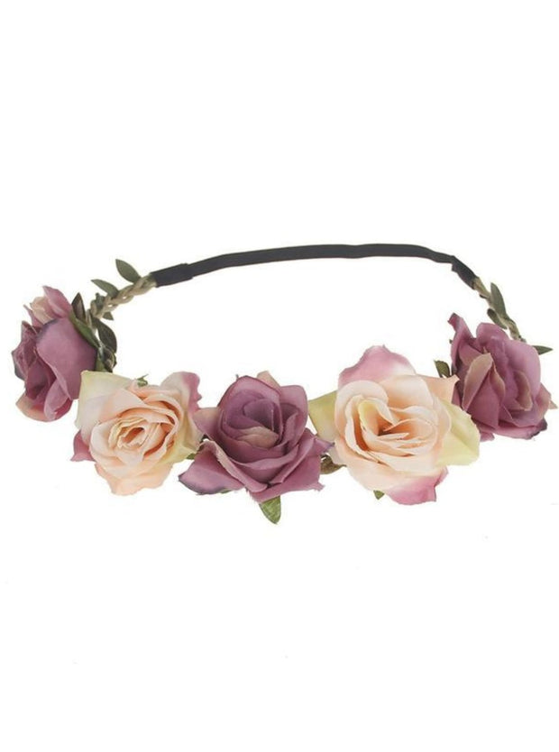 Girls Rose Flower Halo - Plum & Pink / One - Girls Flower Halo