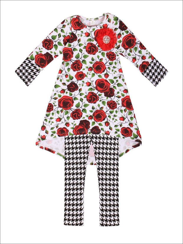 Girls Rose & Houndstooth Hi-Lo Cuffed Tunic and Leggings Set - Red/Black / 2T/3T - Girls Fall Casual Set