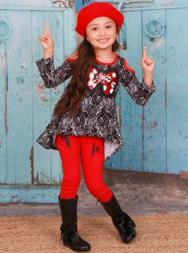 Girls Rose Lace Print Hi-Lo Long Sleeve Cold Shoulder Tunic with Polka Dot Sequin Bow Applique - Girls Fall Top
