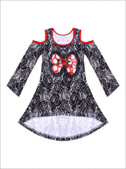 Girls Rose Lace Print Hi-Lo Long Sleeve Cold Shoulder Tunic with Polka Dot Sequin Bow Applique - Black / 2T/3T - Girls Fall Top