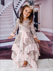 Girls Rose Lace Print Long Sleeve Lace Ruffled Double Layer Handkerchief Dress - Girls Fall Dressy Dress