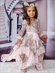 Girls Rose Lace Print Long Sleeve Lace Ruffled Double Layer Handkerchief Dress - Pink / 2T-3T - Girls Fall Dressy Dress