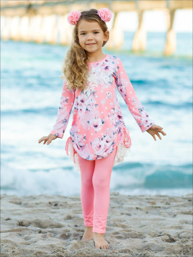 Girls Rose Print Long Sleeve Hi-Lo Drawstring Lace Tunic & Matching Leggings Set - Girls Fall Casual Set