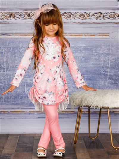 Girls Rose Print Long Sleeve Hi-Lo Drawstring Lace Tunic & Matching Leggings Set - Pink / 2T/3T - Girls Fall Casual Set