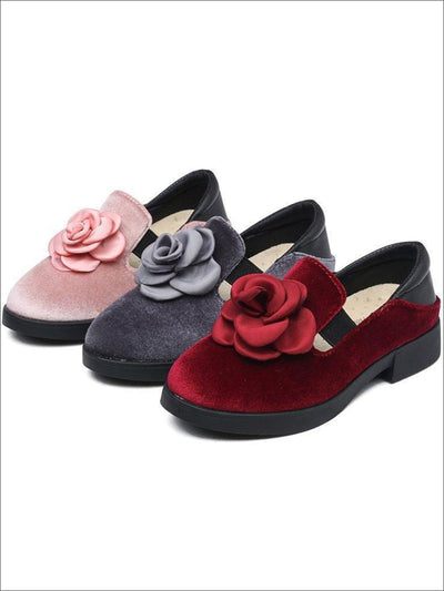 Girls Rosebud Velvet Clogs - Girls Flats