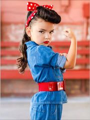 Girls Rosie The Riveter Halloween Costume with Polka Dot Headband - Girls Halloween Costume