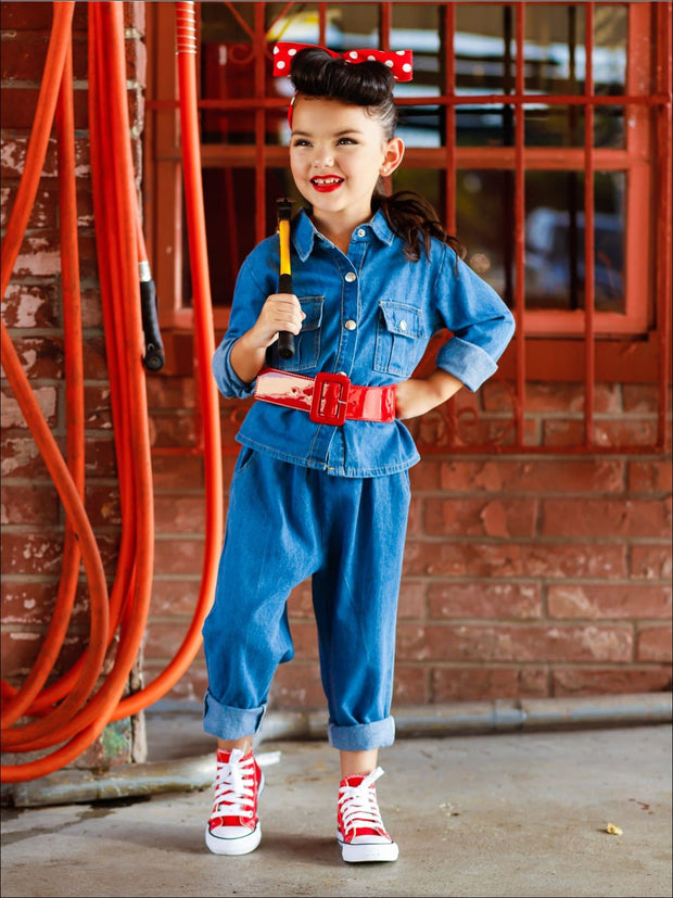 Girls Rosie The Riveter Halloween Costume with Polka Dot Headband - Blue / 6Y - Girls Halloween Costume