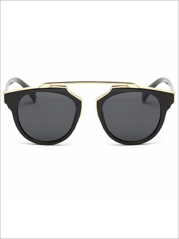 Girls Round Aviator Sunglasses with Gold Detail - Girls Sunglasses