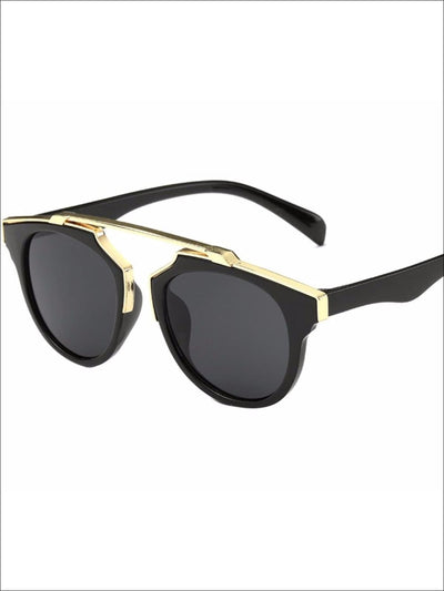 Girls Round Aviator Sunglasses with Gold Detail - Black / One - Girls Sunglasses