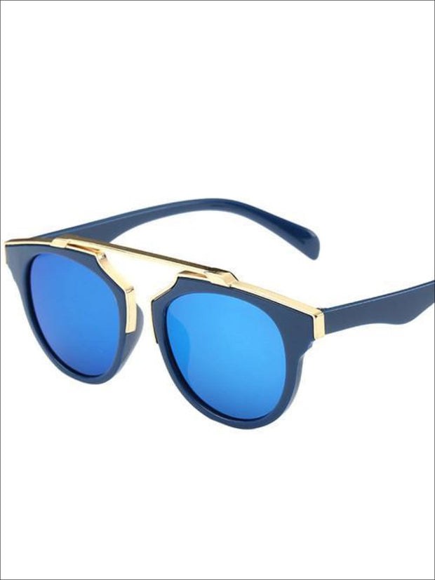 Girls Round Aviator Sunglasses with Gold Detail - Blue / One - Girls Sunglasses