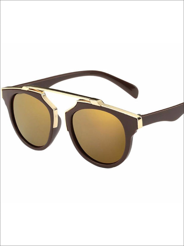 Girls Round Aviator Sunglasses with Gold Detail - Brown / One - Girls Sunglasses