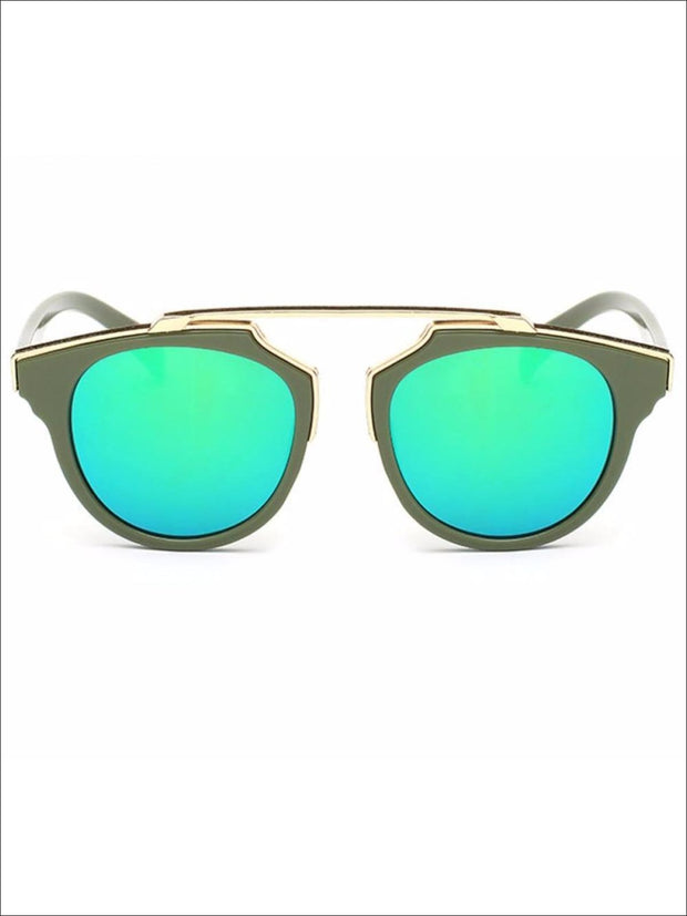 Girls Round Aviator Sunglasses with Gold Detail - Green / One - Girls Sunglasses