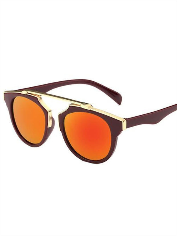 Girls Round Aviator Sunglasses with Gold Detail - Orange / One - Girls Sunglasses