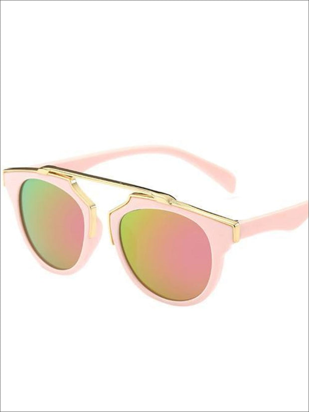 Girls Round Aviator Sunglasses with Gold Detail - Pink / One - Girls Sunglasses