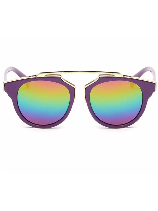 Girls Round Aviator Sunglasses with Gold Detail - Purple / One - Girls Sunglasses