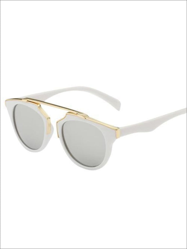 Girls Round Aviator Sunglasses with Gold Detail - White / One - Girls Sunglasses