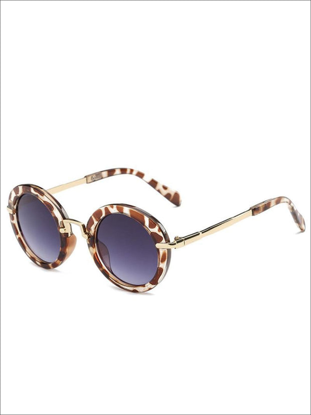 Girls Round Retro Sunglasses - Animal Print / One - Girls Sunglasses
