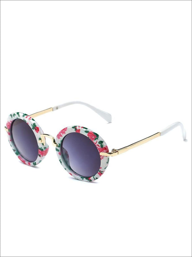 Girls Round Retro Sunglasses - Floral / One - Girls Sunglasses