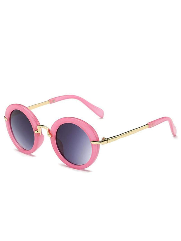 Girls Round Retro Sunglasses - Pink / One - Girls Sunglasses