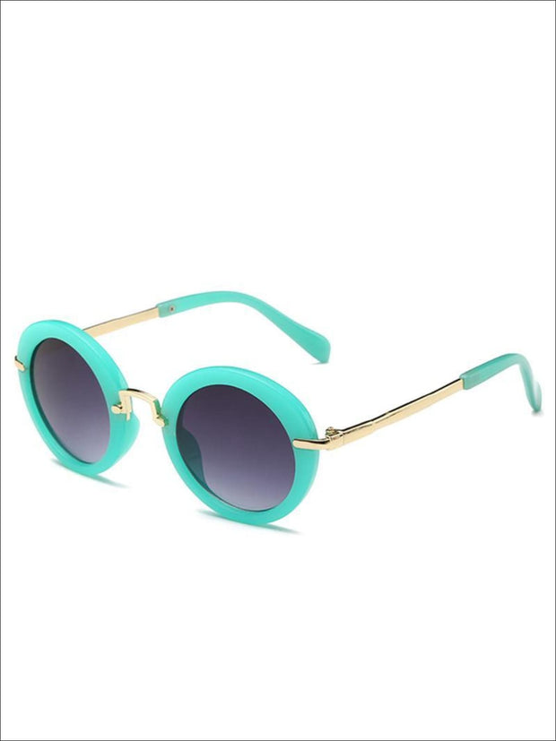 Girls Round Retro Sunglasses - Mint / One - Girls Sunglasses