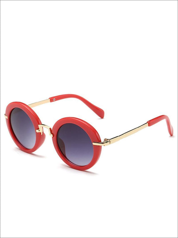 Girls Round Retro Sunglasses - Red / One - Girls Sunglasses