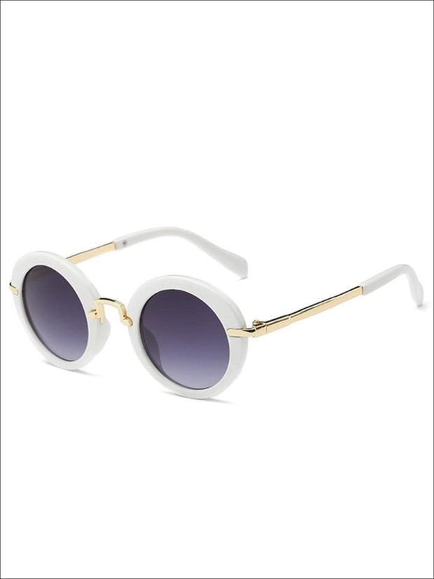Girls Round Retro Sunglasses - White / One - Girls Sunglasses