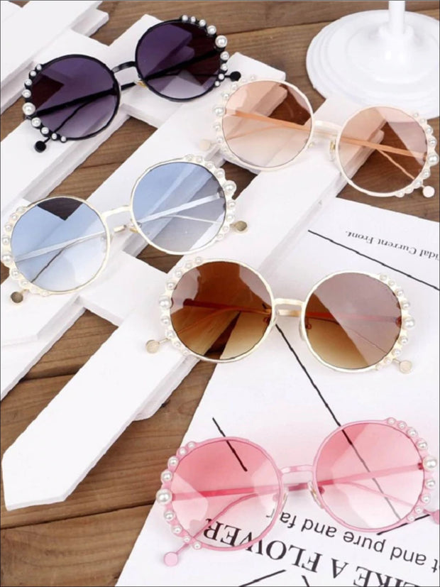 Girls Round Vintage Pearl Studded Sunglasses - Girls Accessories